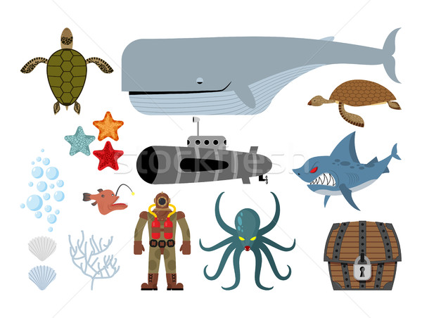 Underwater world set. Keith and submarine, shark and terrible Oc Stock photo © MaryValery
