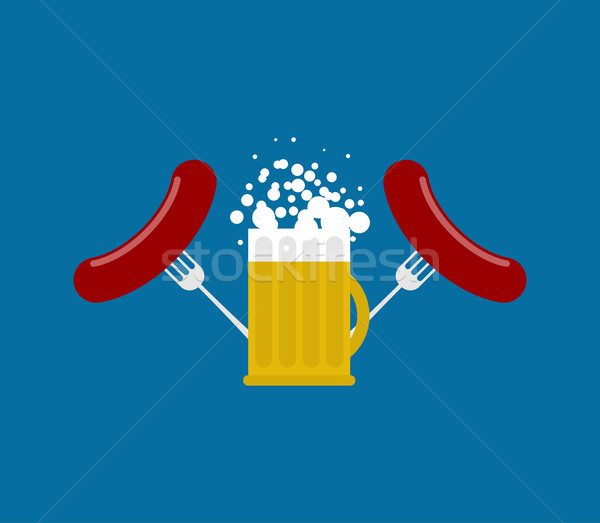 Stock photo: Mug beer and sausage. Logo for Oktoberfest. Holiday in Germany