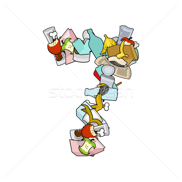 Number 7 Rubbish. Trash font seven sign. garbage alphabet symbol Stock photo © MaryValery