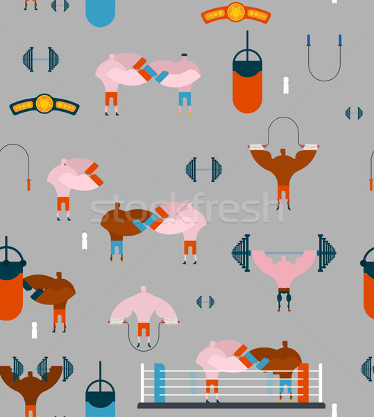 Boxing gym pattern. Hall boxing background and ornament. Boxer t Stock photo © MaryValery