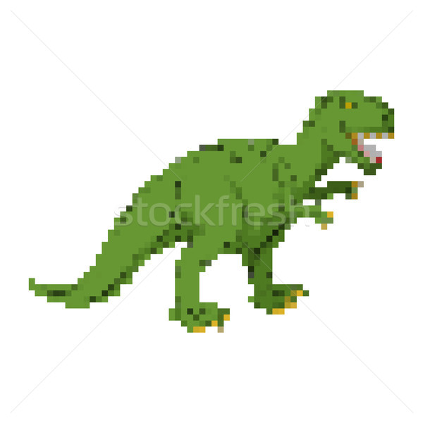 Dinosaur pixel art. Tyrannosaurus pixelated. Dino retro games. 8 Stock photo © MaryValery