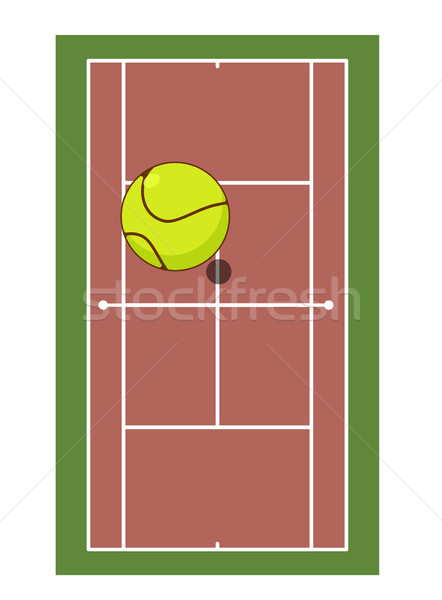 Tennis field and ball. Game of tennis. Game ball high above grou Stock photo © MaryValery