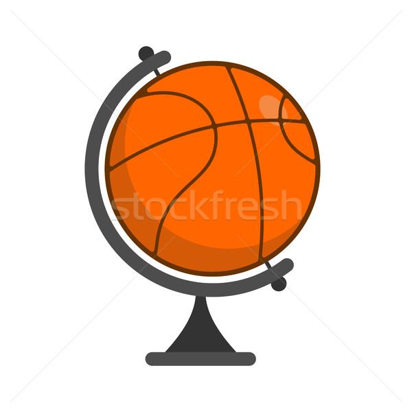 Stock fotó: Földgömb · kosárlabda · világ · játék · sportok · narancs