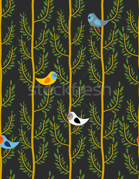 Birds on trees seamless pattern  Vector background of forest wi