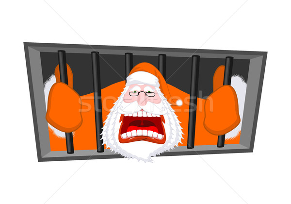 Santa Claus orange prisoner clothing. Christmas in prison. Windo Stock photo © MaryValery
