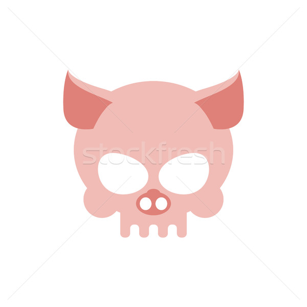 Pig skull isolated. Pink Swine skeleton head Stock photo © MaryValery