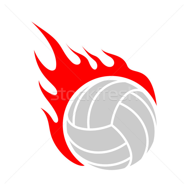 Fire volleyball. Flame ball. Emblem game sport team Stock photo © MaryValery