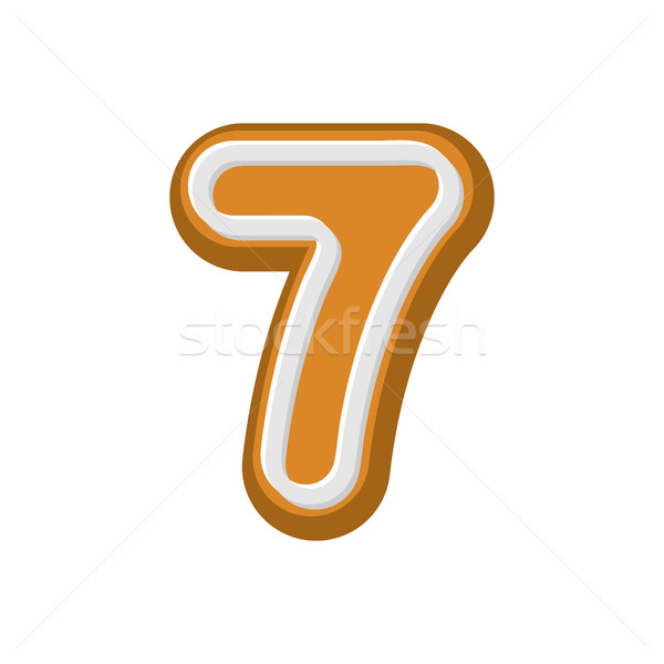 Number 7 Gingerbread font. Peppermint honey cake ABC seven. Cook Stock photo © MaryValery