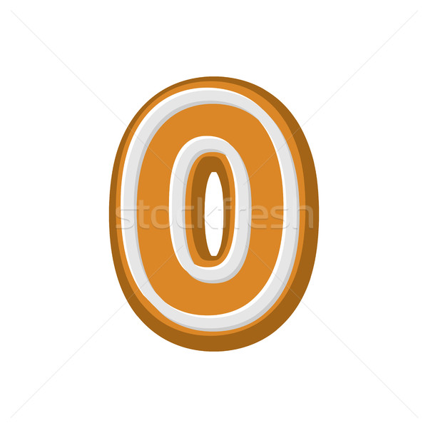 Number 0 Gingerbread font. Peppermint honey cake ABC zero. Cooki Stock photo © MaryValery