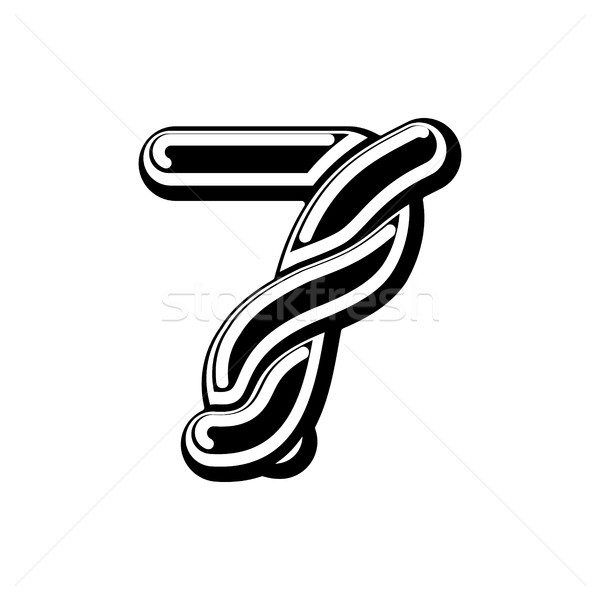 Number 7 Celtic font. norse medieval ornament ABC sign seven. Tr Stock photo © MaryValery