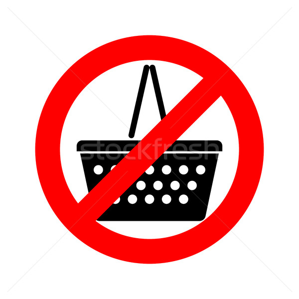 Stop shopping basket. red stop sign is forbidden, ban Stock photo © MaryValery