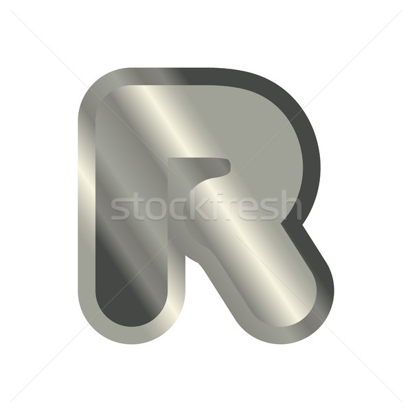 Letter R steel font. Metal alphabet sign. Iron ABC symbol. chrom Stock photo © MaryValery