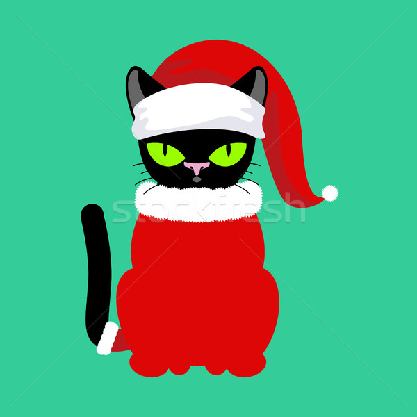Santa Cat. Pet in Christmas hat. New Year illustration. Xmas tem Stock photo © MaryValery