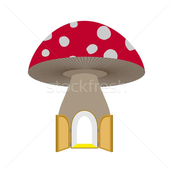 Casa fabuloso abrir a porta cogumelo fantástico floresta Foto stock © MaryValery