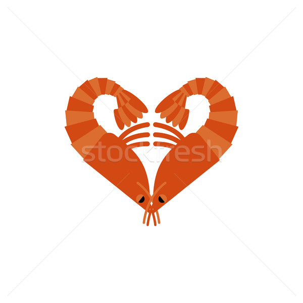 Shrimps love isolated. Heart of plankton on white background Stock photo © MaryValery