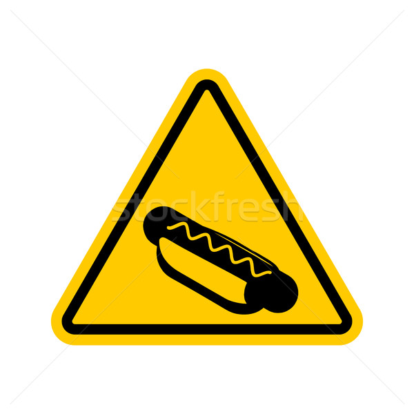 Attention hot dog jaune panneau routier restauration rapide prudence Photo stock © MaryValery