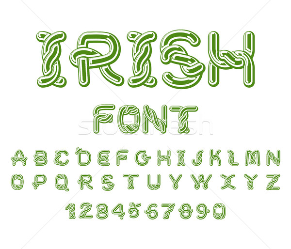 Irish font. National Celtic alphabet. Traditional Ireland orname Stock photo © MaryValery