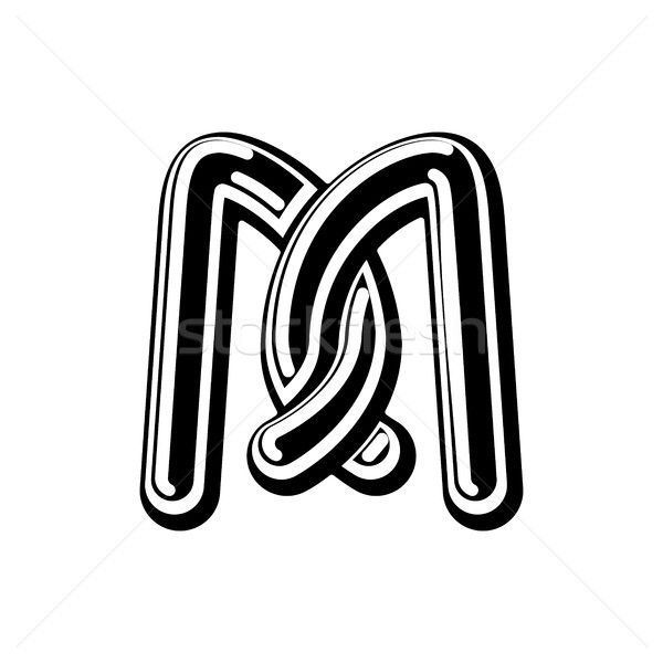 Letter M Celtic font. norse medieval ornament ABC. Traditional a Stock photo © MaryValery
