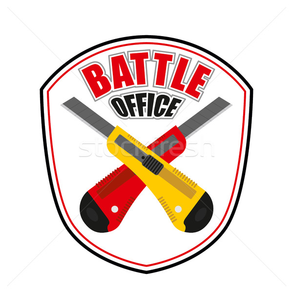 Office battle emblem. Two crossed stationery knife. Logo for cor Stock photo © MaryValery