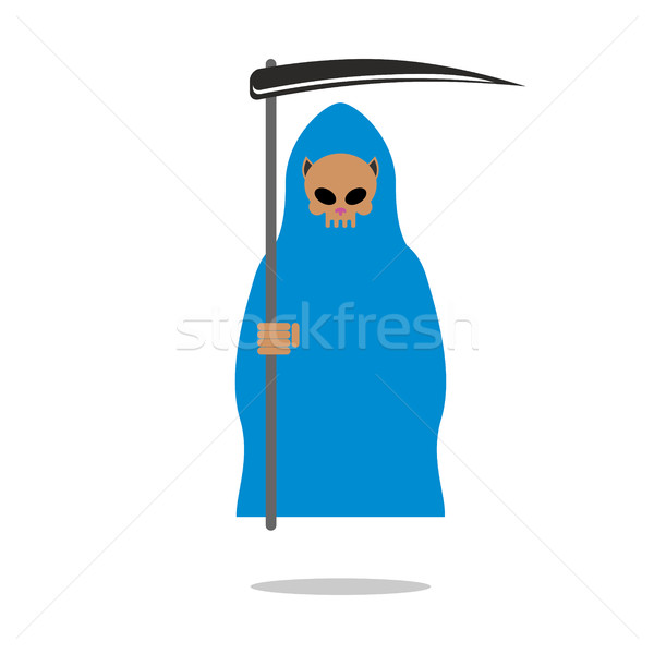 Death skull cat in blue cloak. Grim Reaper pets with scythe. Stock photo © MaryValery