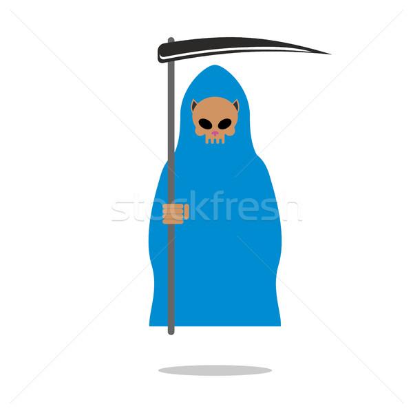 Dood schedel kat Blauw mantel grimmig Stockfoto © MaryValery