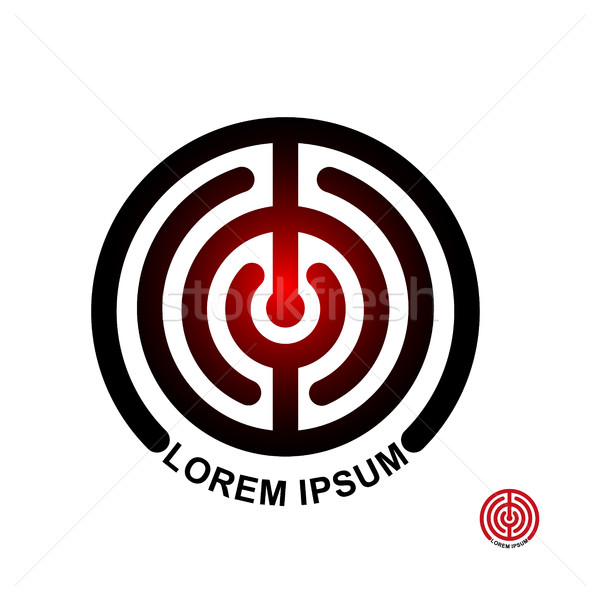 Circle in terms of vector logo. Maze emblem. Labyrinth round Ill Stock photo © MaryValery