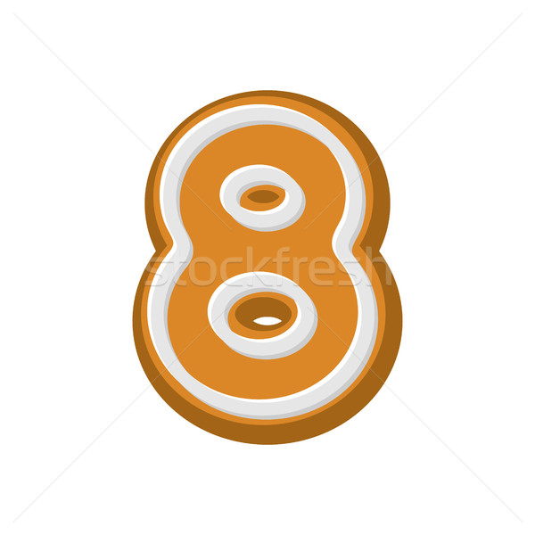 Number 8 Gingerbread font. Peppermint honey-cake ABC eight. Cook Stock photo © MaryValery
