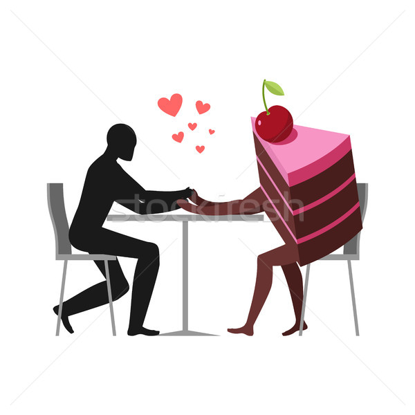Lover of cakes. Man and piece of cake in cafe. Lovers sitting at Stock photo © MaryValery
