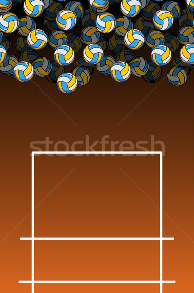 volleyball field and ball. Lot of balls. Volleyball background.  Stock photo © MaryValery