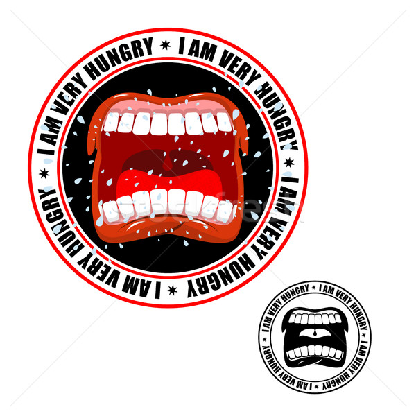 Stock photo: I am very hungry stamp. Printing for hungry people. Open mouth a