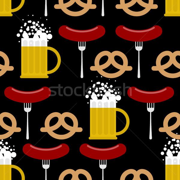 пива крендельки колбаса вектора Сток-фото © MaryValery