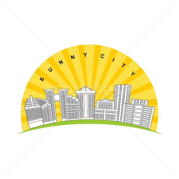 Sunny city. Logo for new modern prestigious district city. Skys Stock photo © MaryValery