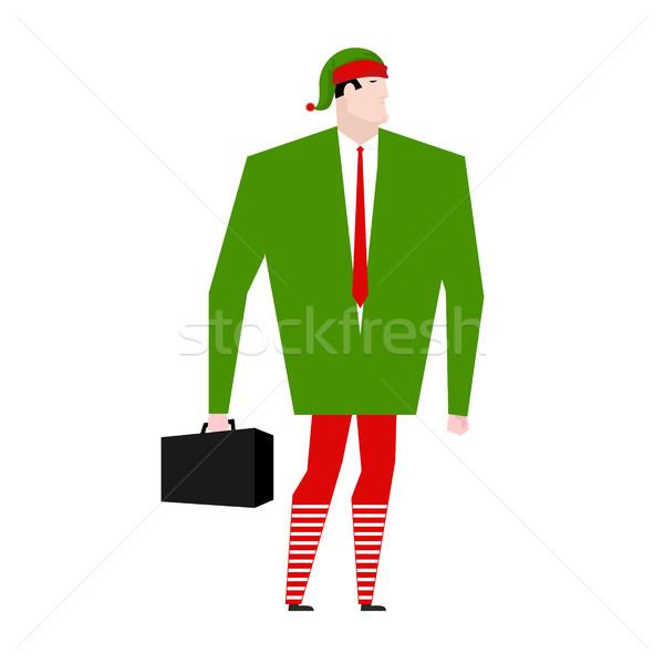 Elfo empresários ajudante papai noel gerente natal Foto stock © MaryValery