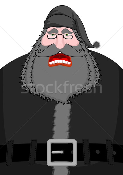 Black Santa. Dark gnome. darkness Old man with big beard and cap Stock photo © MaryValery