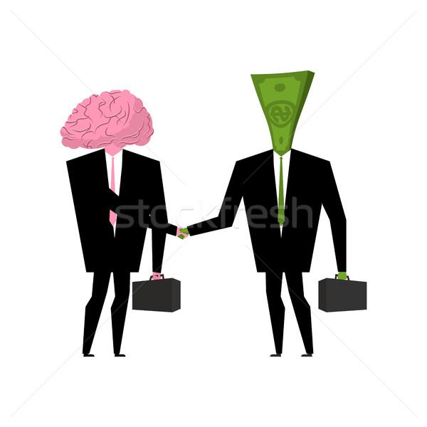Cérebro dinheiro negócio empresários aperto de mãos cérebro humano Foto stock © MaryValery