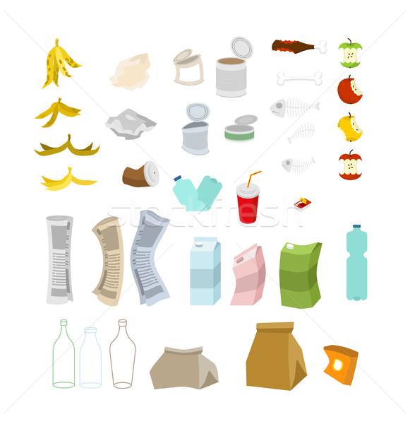 Müll Set Abfall Symbol Sammlung Papierkorb Stock foto © MaryValery