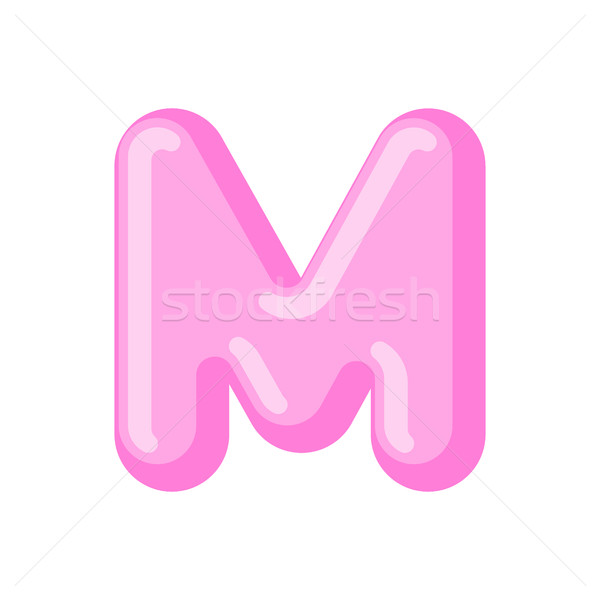 Letter M candy font. Caramel alphabet. lollipop lettering. Sweet Stock photo © MaryValery