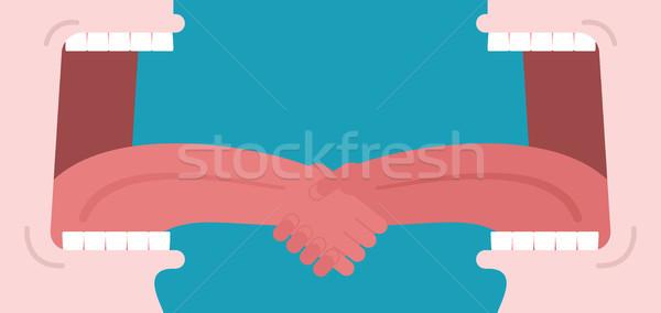 Business dialoog handdruk tong Open mond Stockfoto © MaryValery