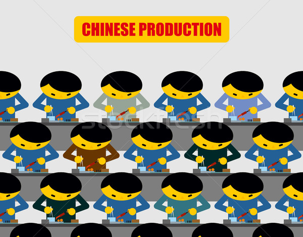 Chinese production. Lot of people at work. Chinese collected wor Stock photo © MaryValery