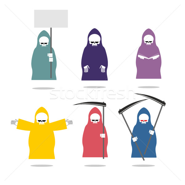 Set Grim Reaper  in coloured raincoats. Death in different posit Stock photo © MaryValery