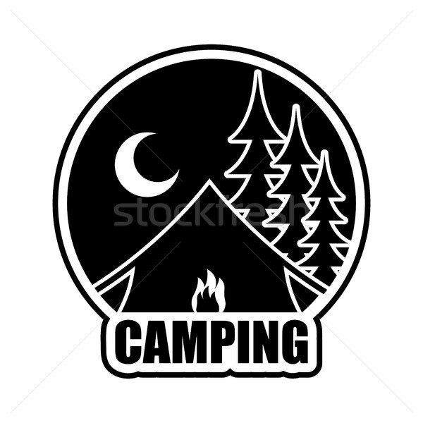 Night Camping logo. Emblem for accommodation camp. Landscape wit Stock photo © MaryValery