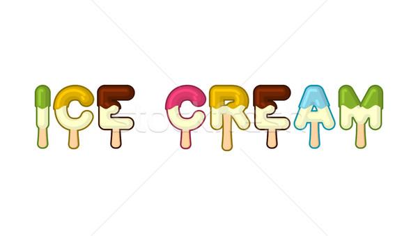 Ice cream typography. Popsicle alphabet. Cold sweets alphabet. F Stock photo © MaryValery