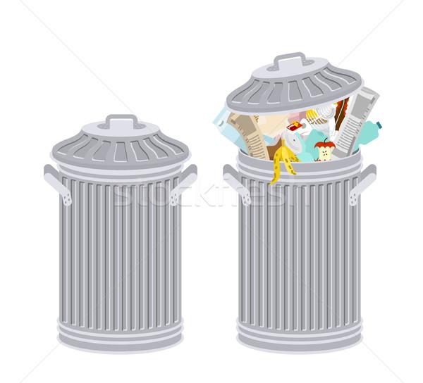 мусорное ведро мусор изолированный мусора белый Сток-фото © MaryValery