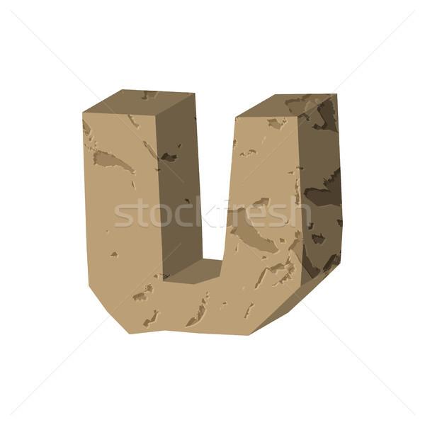 Letter U stone font. Rock alphabet symbol. Stones crag ABC sign Stock photo © MaryValery