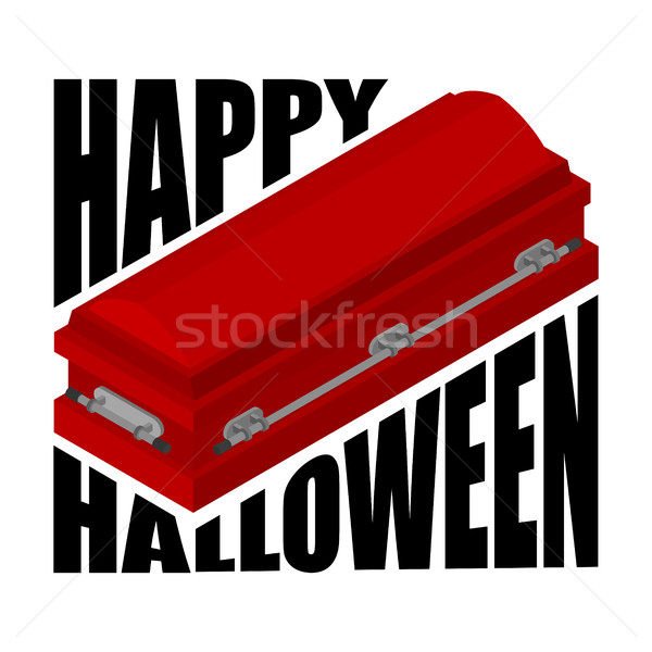 Happy Halloween. coffin and typography. Illustration for terribl Stock photo © MaryValery