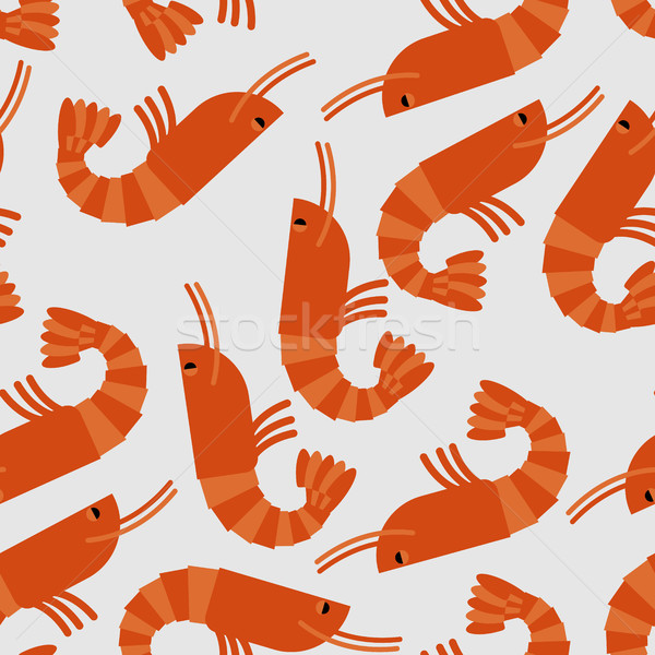 Shrimp seamless pattern. Sea delicacy vector background. Texture Stock photo © MaryValery