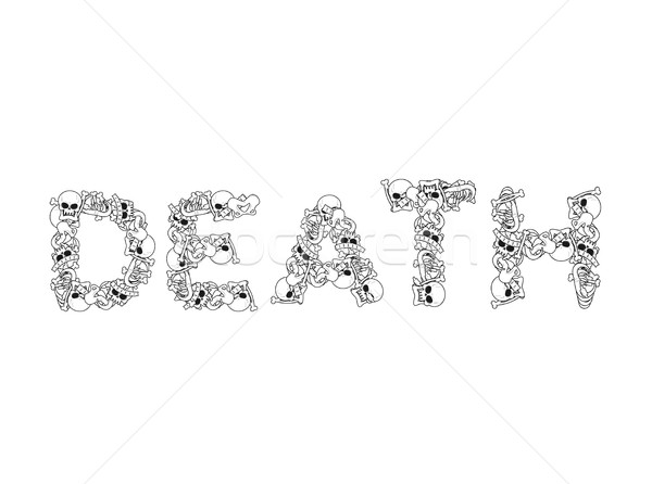 Muerte tipografía cartas huesos anatomía cráneo Foto stock © MaryValery