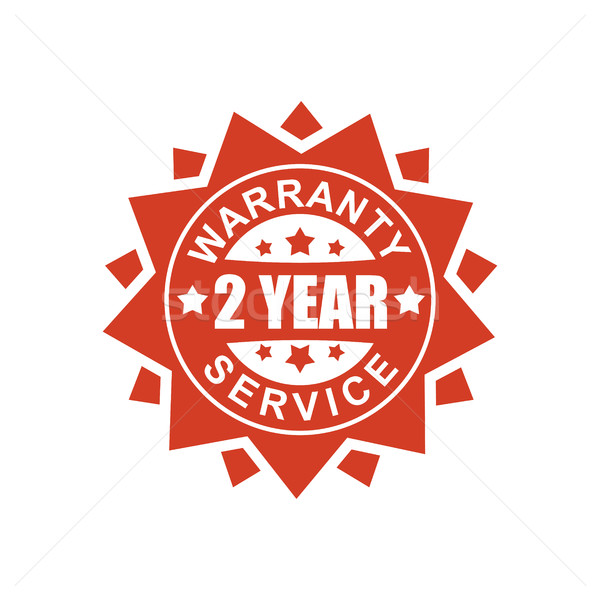 Warranty and service sign. 2 year. Red ribbon symbol. Rubber Sea Stock photo © MaryValery