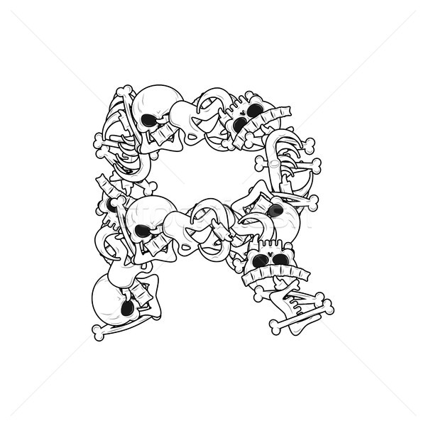 Letter R skeleton Bones Font. Anatomy of an alphabet symbol. dea Stock photo © MaryValery