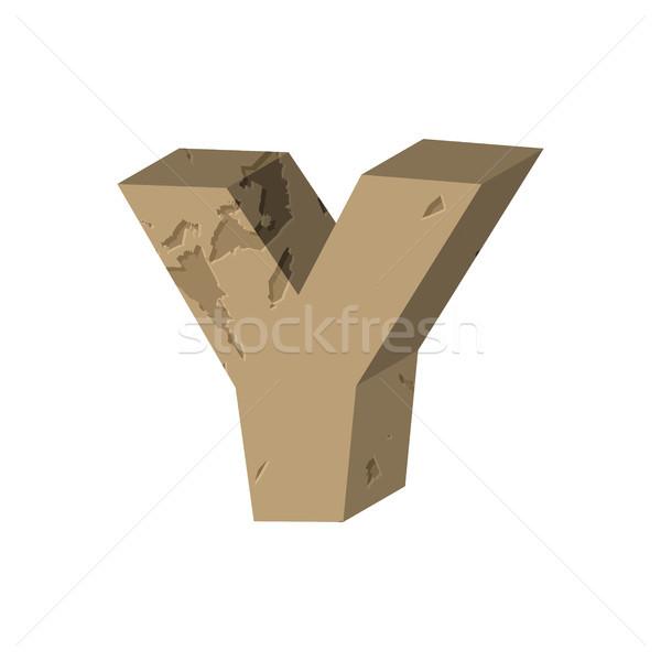 Letter Y stone font. Rock alphabet symbol. Stones crag ABC sign Stock photo © MaryValery